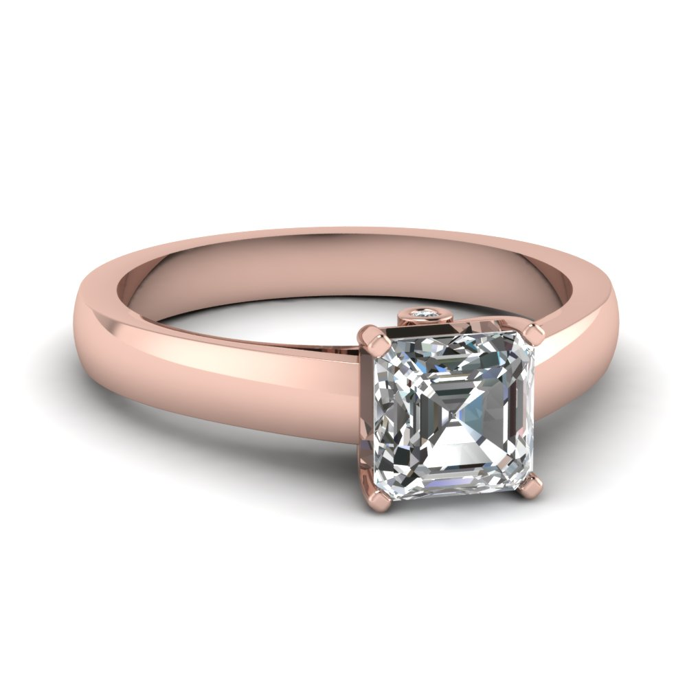 square diamond solitaire engagement ring - Square Cut Wedding Rings