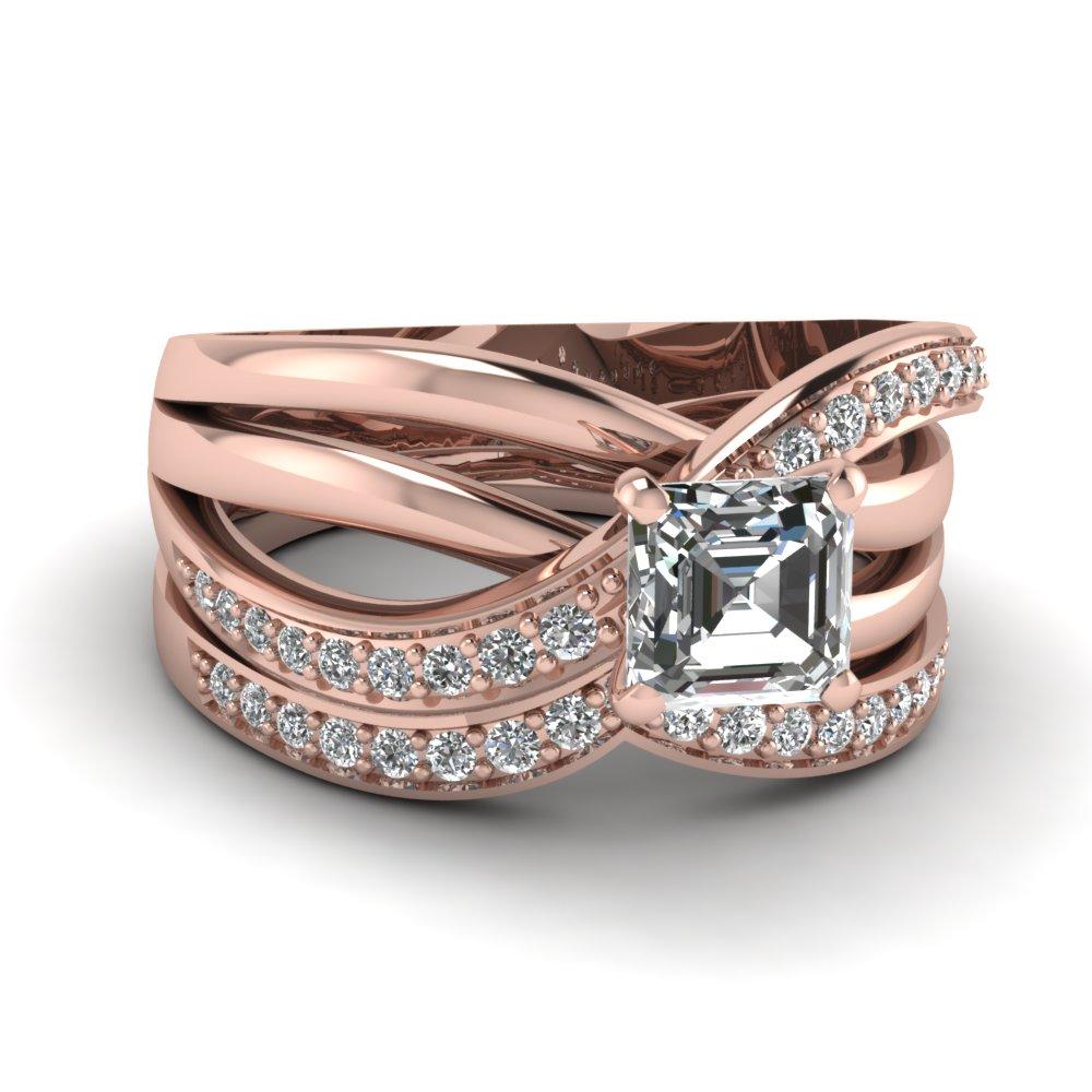 Pave Crossover Diamond Wedding Ring Sets