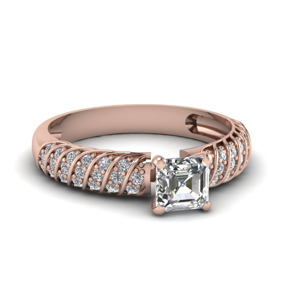 Rose Gold Pave Asscher Cut Diamond Ring