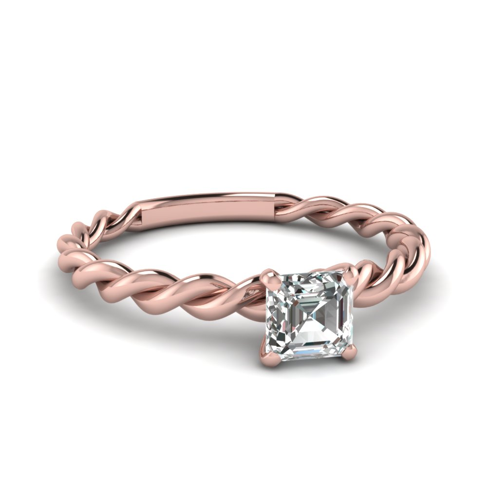 Rose Gold Asscher Diamond Ring