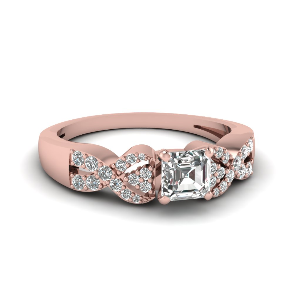 Asscher Cut Diamond Pave Engagement Ring In Rose Gold