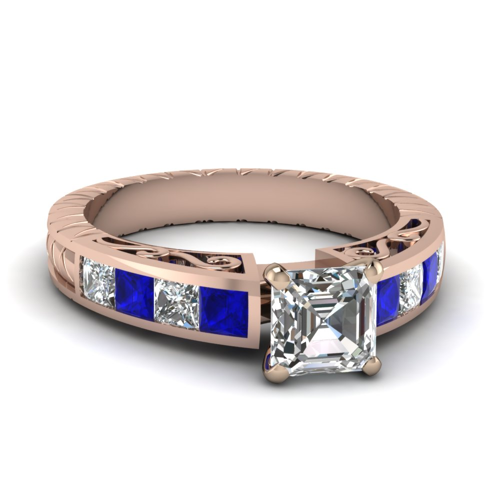 Gorgeous Engraved Sapphire Ring