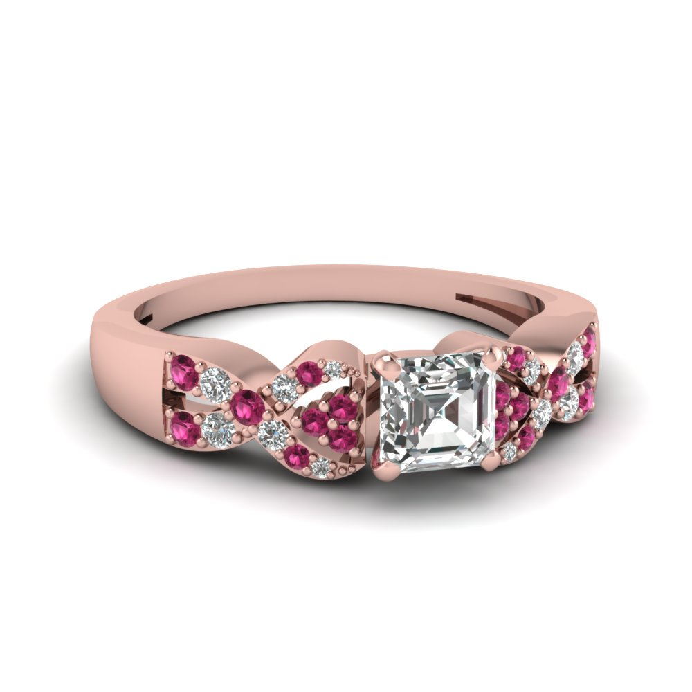 Asscher Cut Twist Engagement Ring With Pink Saphire Accents