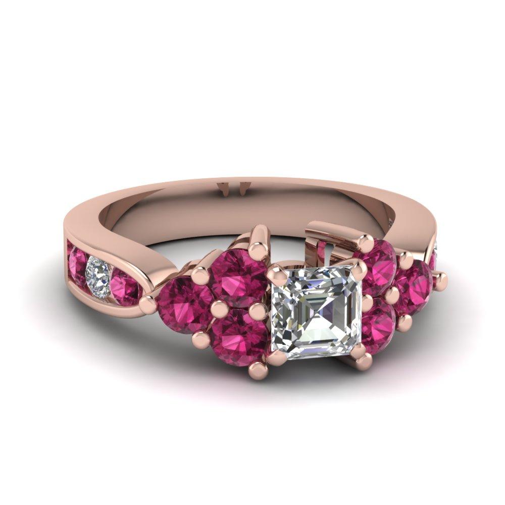 Rose Gold Asscher cut and Pink Sapphire Diamond Engagement Ring