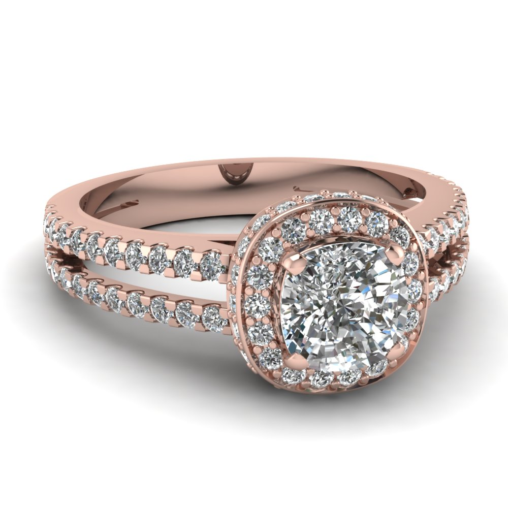 Cushion Cut Diamond Engagement Rings With White Diamond In 14k Rose Gold