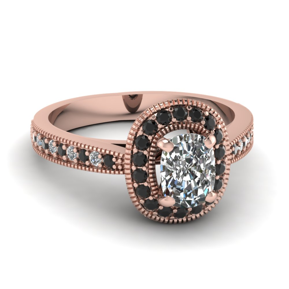Black And Rose Gold Weding Rings 026 - Black And Rose Gold Weding Rings