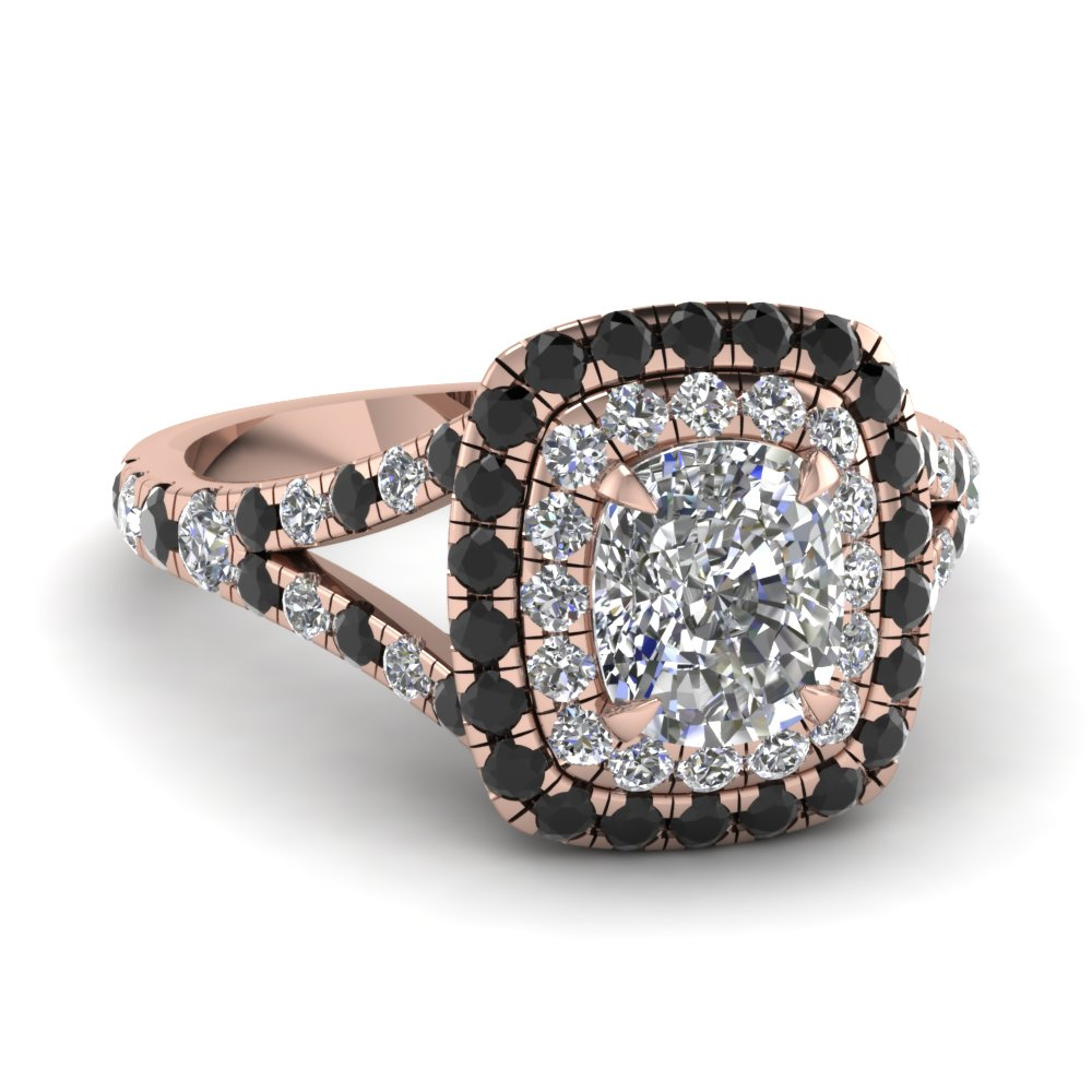 Cushion Cut Diamond Halo Ring With Black Diamond In 14k Rose Gold