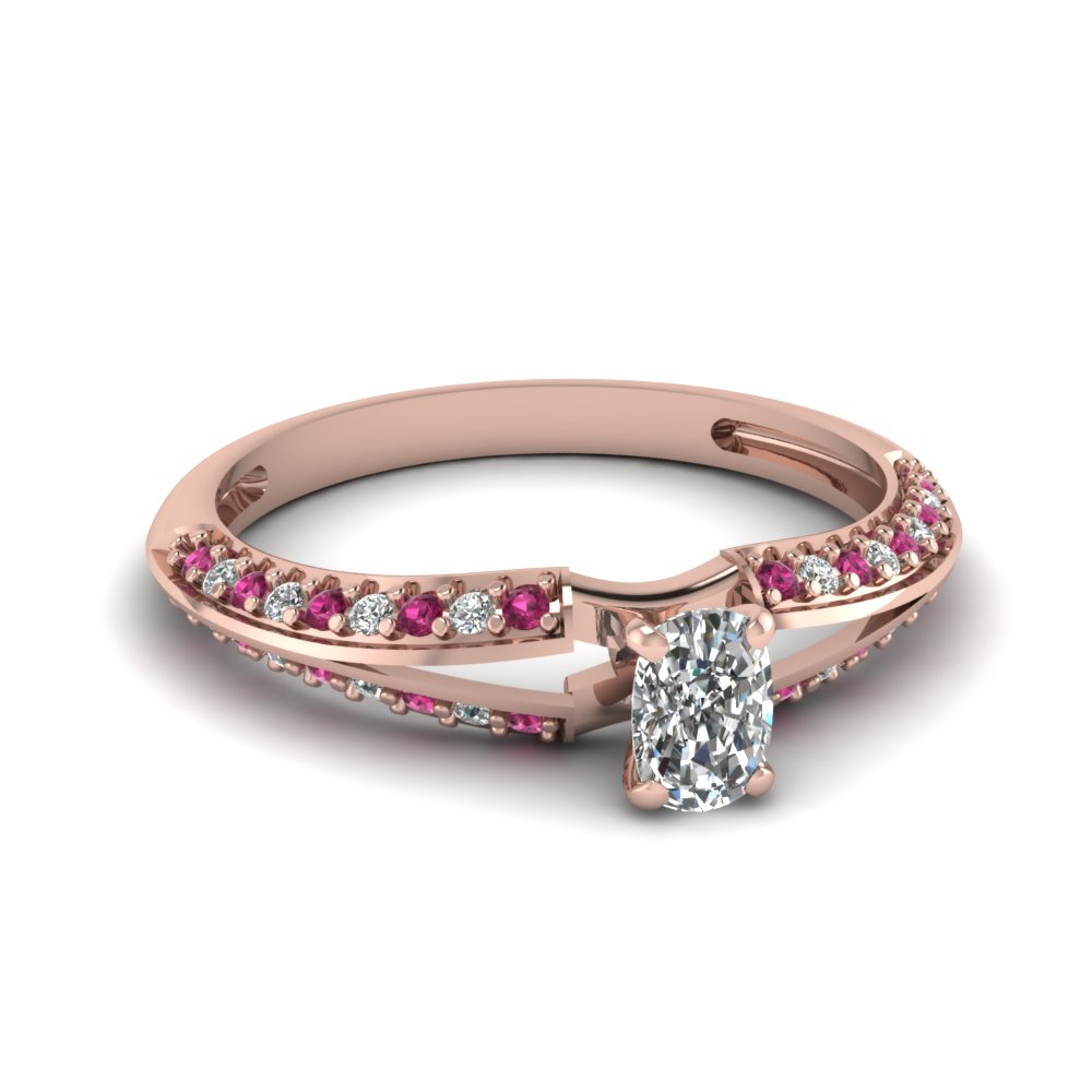 Rose Gold Split Band Sapphire Cushion Engagement Ring
