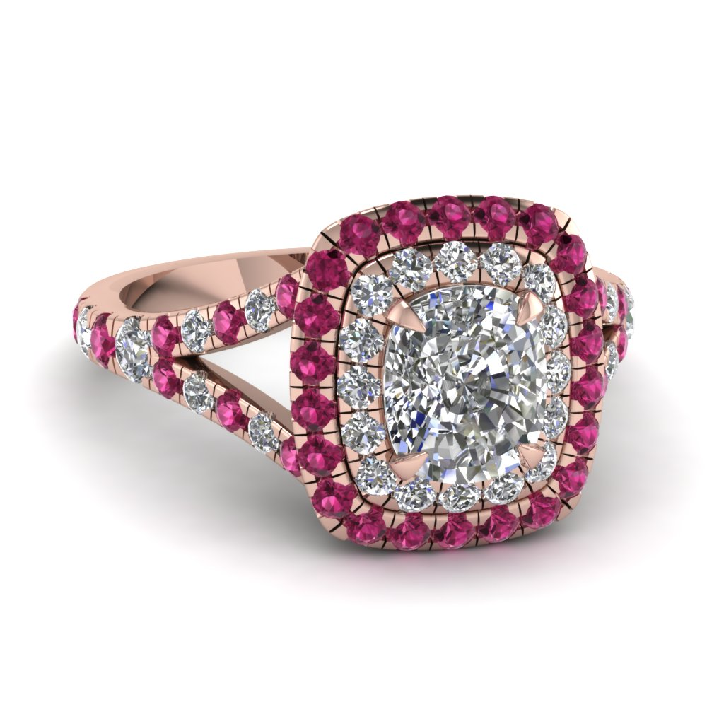 Cushion Cut Diamond Engagement Rings With Pink Sapphire In 14k Rose Gold