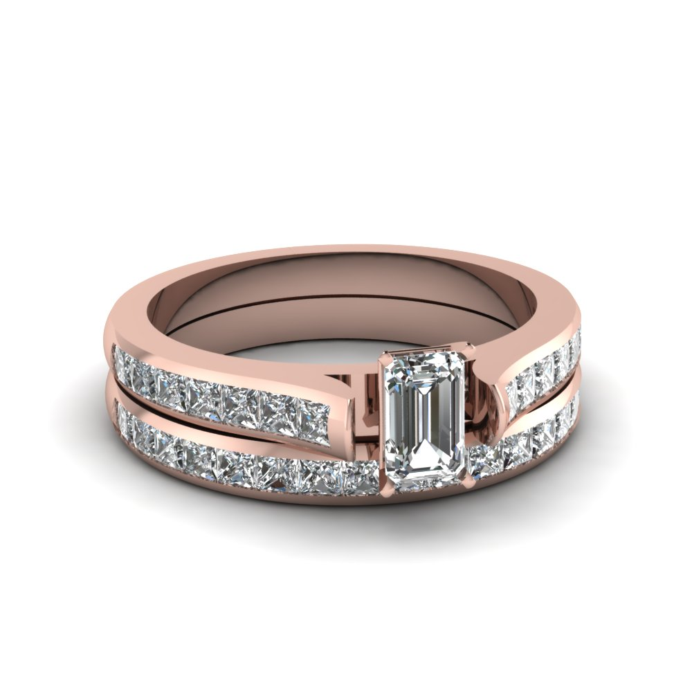 emerald cut wedding ring sets with white