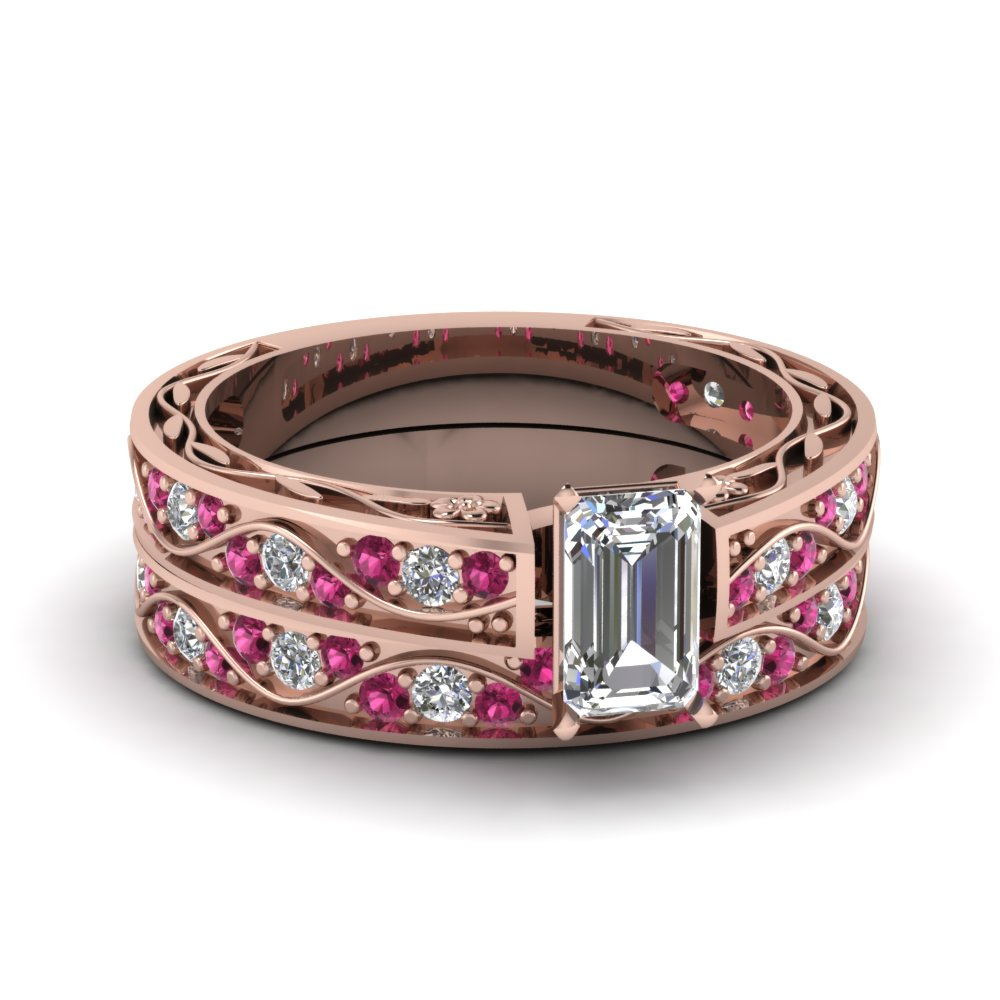 Emerald Cut Diamond Wedding Sets With Pink Sapphire In 14k Rose Gold