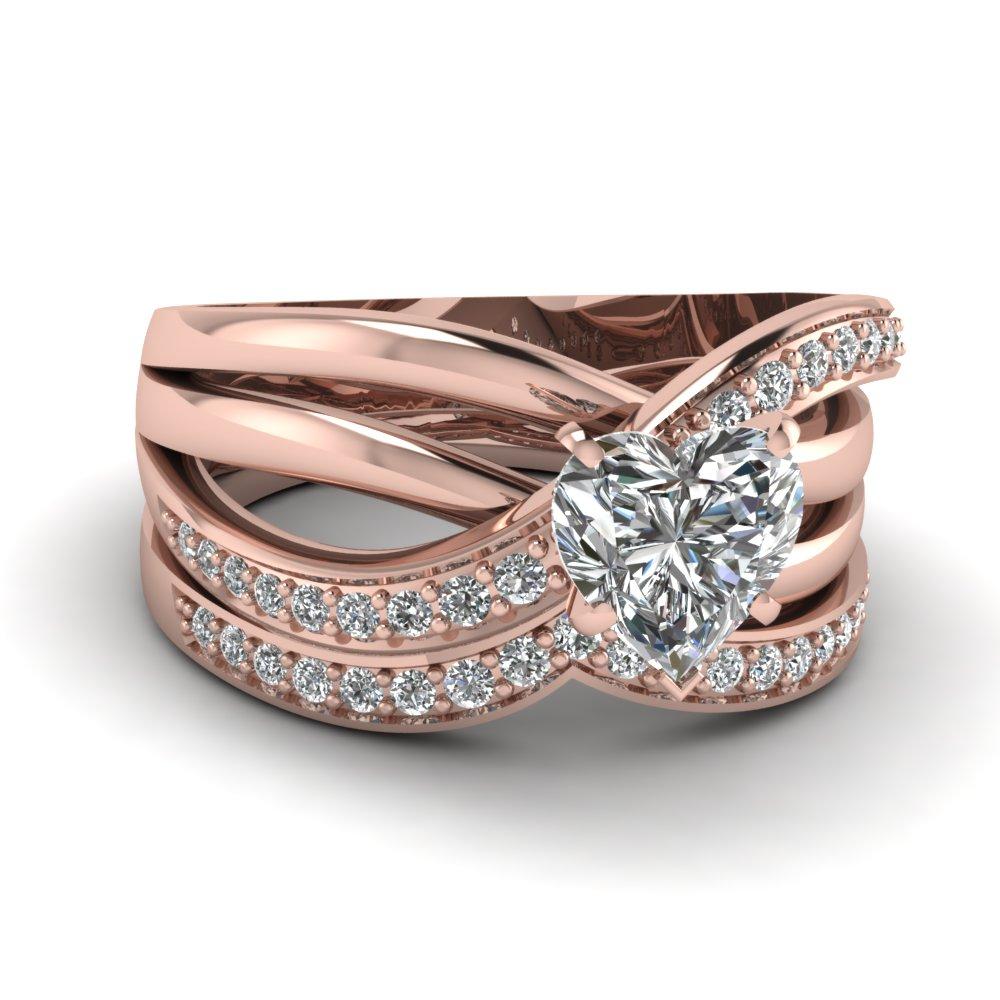 3 Rows Twist Rose Gold Heart Cut Diamond Engagement Ring