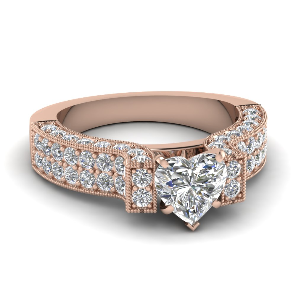 Beautiful Big Heart Diamond Pave Ring
