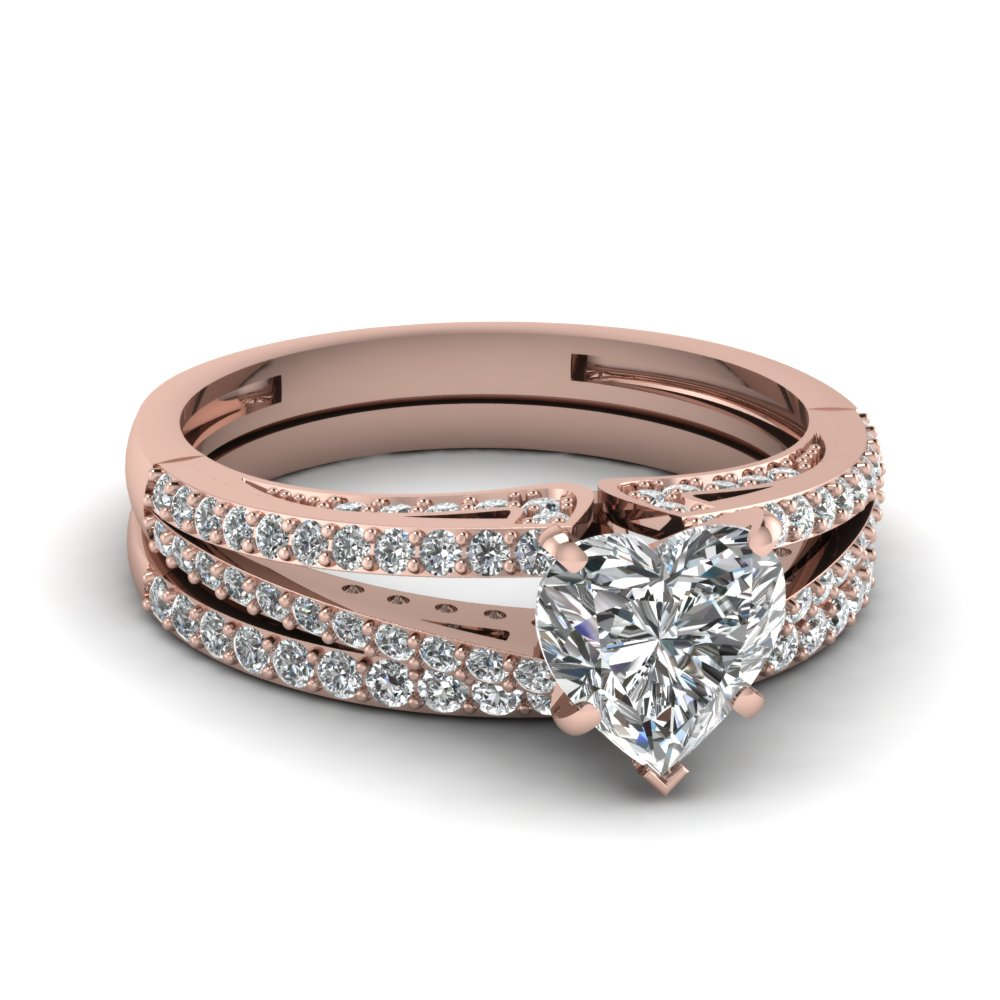 rose gold heart white diamond engagement wedding ring in prong pave set FDENS