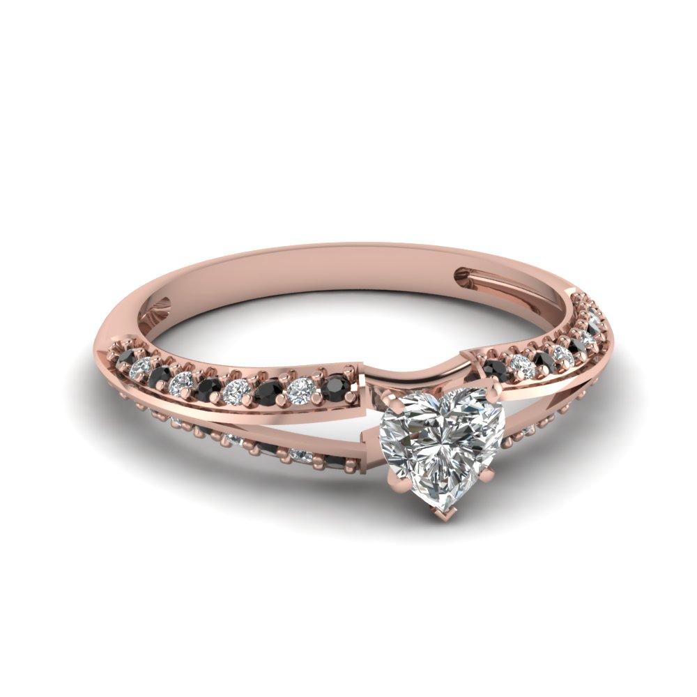 Sleek Black Diamond Side Stone Engagement Ring