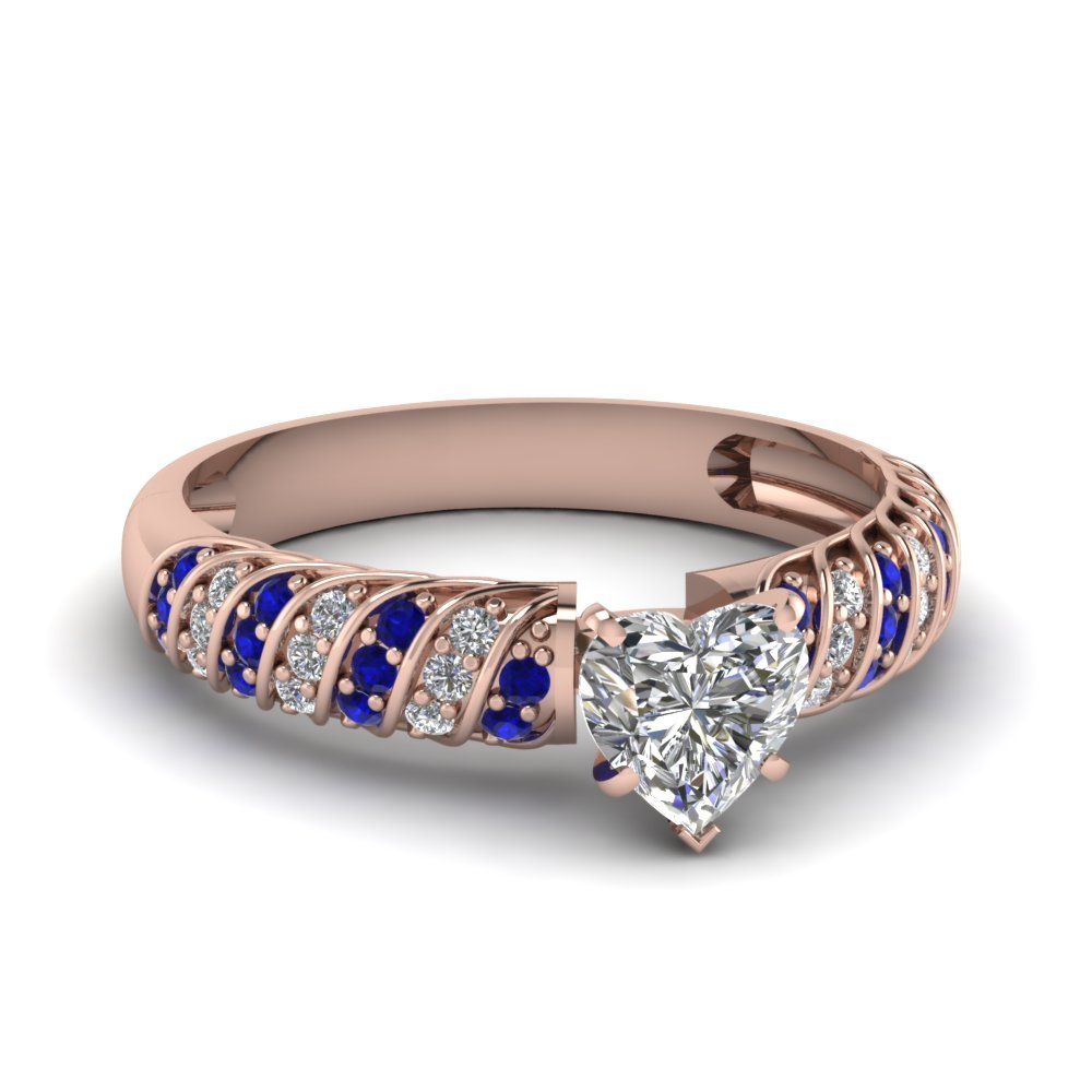 Rope Heart Diamond 14k Rose Gold Ring with Blue Sapphires