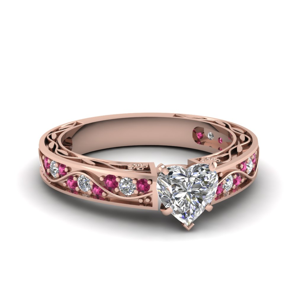 Heart Shaped Diamond Engagement Rings With Pink Sapphire In 14k Rose Gold