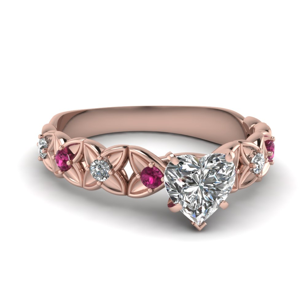 rose gold heart white diamond engagement wedding ring with dark pink sapphire