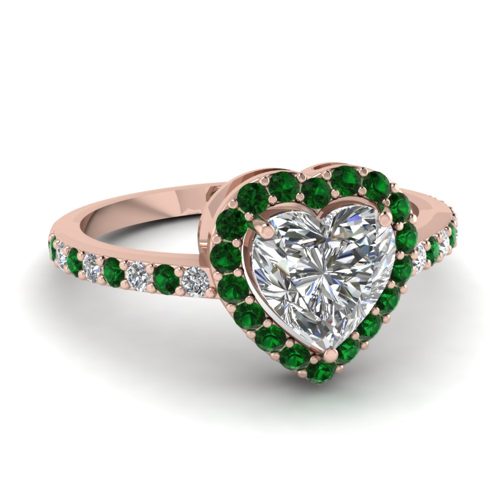 Heart Halo Diamond With Emerald Engagement Ring