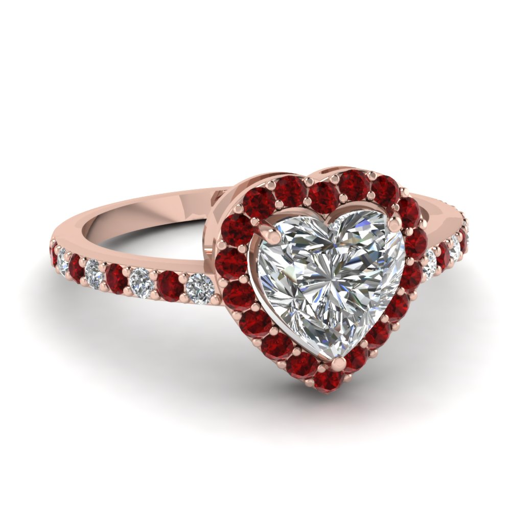 Heart Shaped Halo Diamond Engagement Ring With Ruby In Fd1011htrgrudr Nl Rg