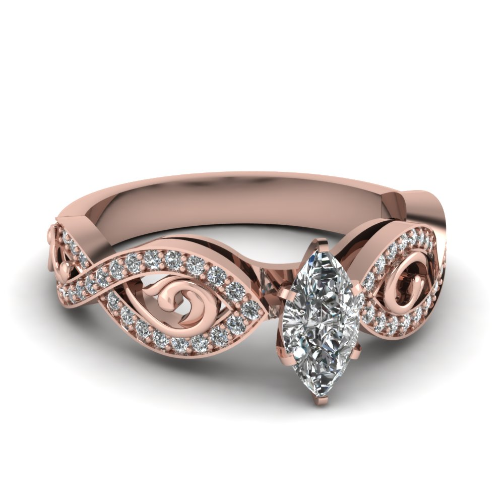 Pave 18k Rose Gold Marquise Diamond Ring