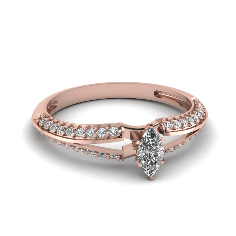 Marquise Shaped Diamond Engagement Ring