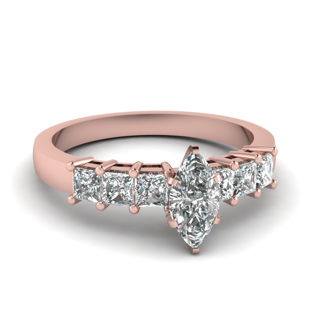 Marquise Shaped Engagement Ring With Princess cut Accents