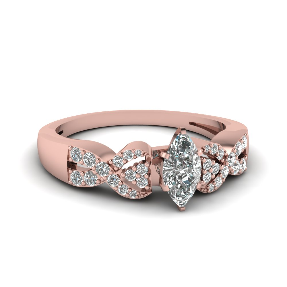 Marquise Shaped Diamond Entwined Engagement Ring In Rose Gold