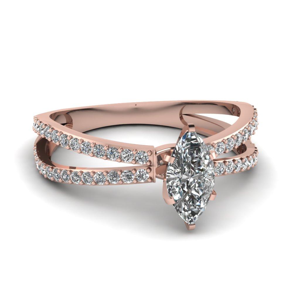 Marquise Split Shank Engagement Rings