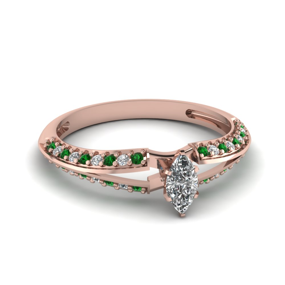 Marquise And Round Diamond With Emerald Gemstone Pave Engagement Ring