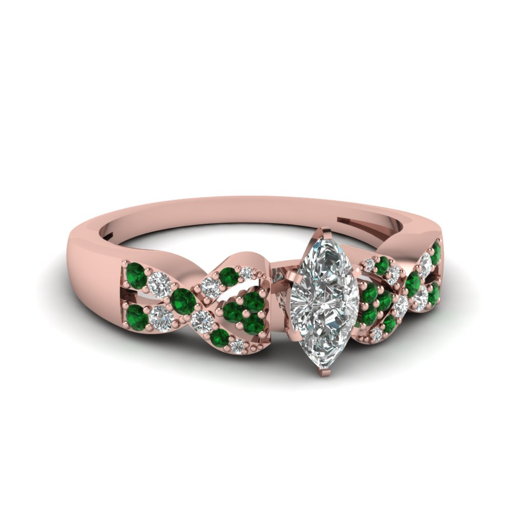 Rose Gold With Emerald Accents Interlocked Engagement Ring