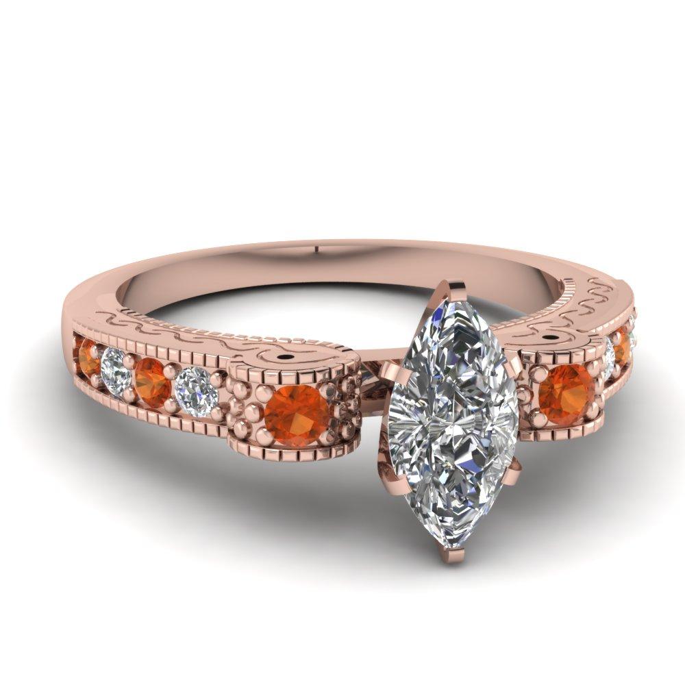 Antique Rose Gold Unique Diamond Engagement Ring