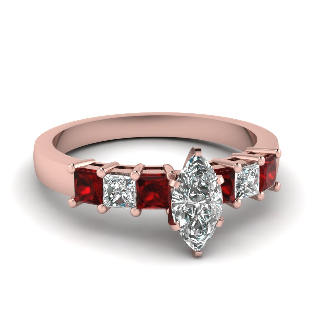 Marquise Shaped Engagement Ring With Ruby In Rose Gold