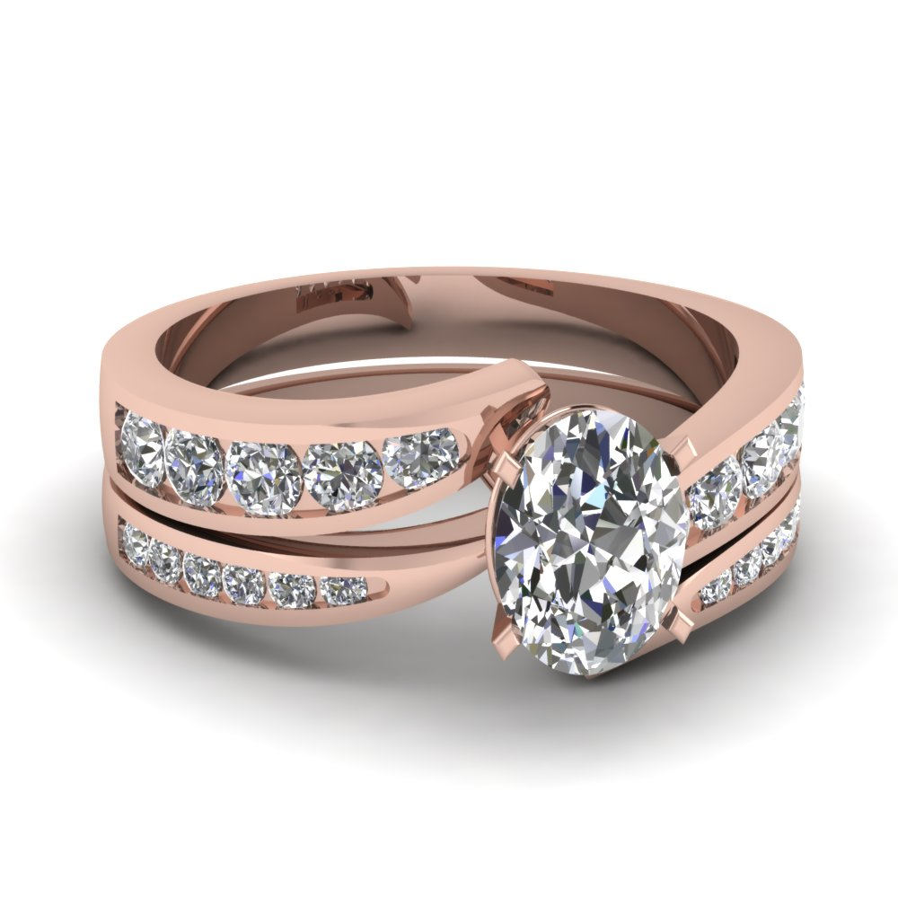 graduated Twist diamond wedding Sets