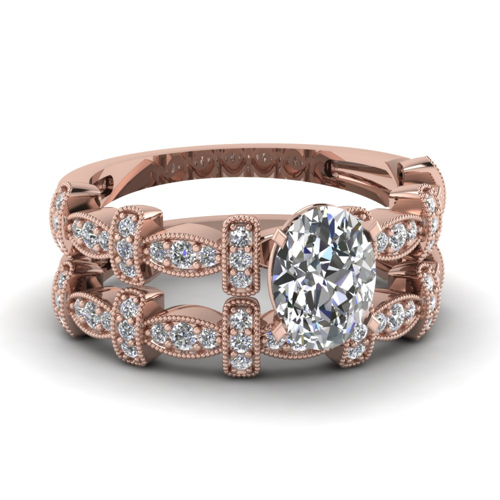 Rose gold Milgrain diamond wedding sets