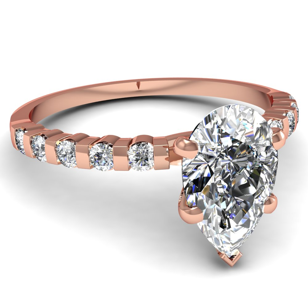 Pear Shaped Diamond Engagement Rings With White Diamonds In 14k Rose Gold