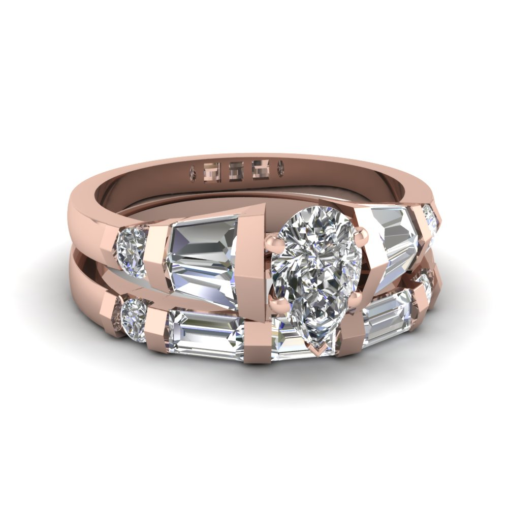 Tapered Baguette Unique Diamond Engagement and Wedding Ring Sets  in Rose Gold