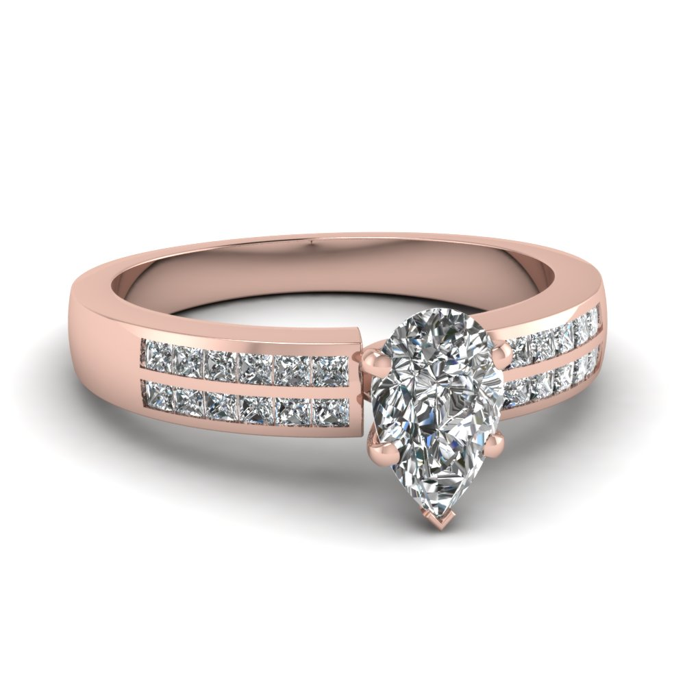 rose gold pear white diamond engagement wedding ring in channel set FDENS3122