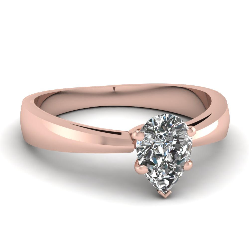 Pear Shaped Diamond Engagement Rings With White Diamonds In 18k Rose Gold
