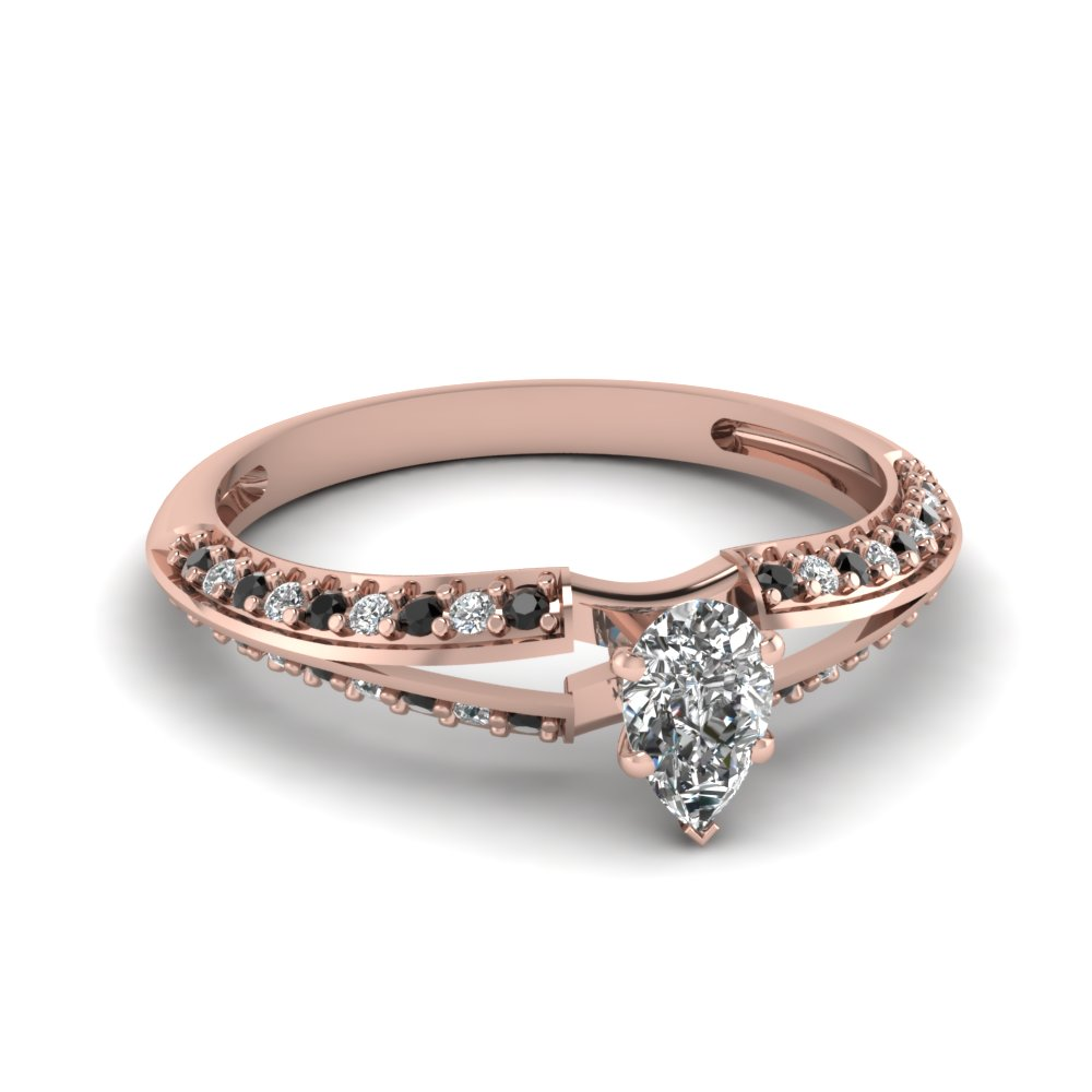 Pear Shaped And Black Diamond Engagement Ring For Women