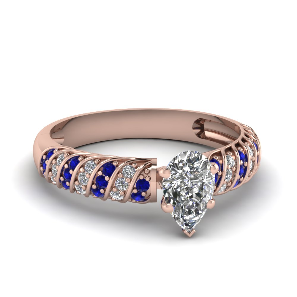 Rope Style Diamond And Sapphire Ring