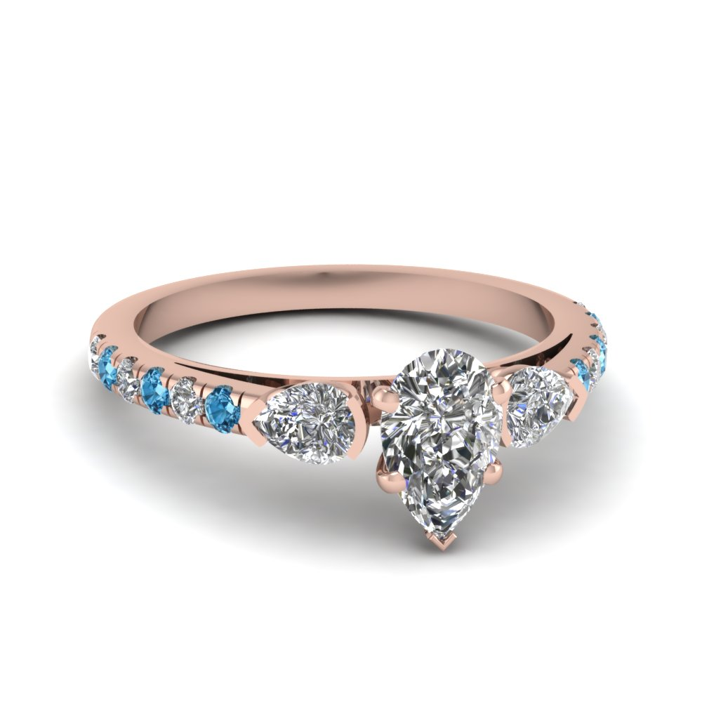 Rose Gold Topaz Pear Accented Diamond Ring