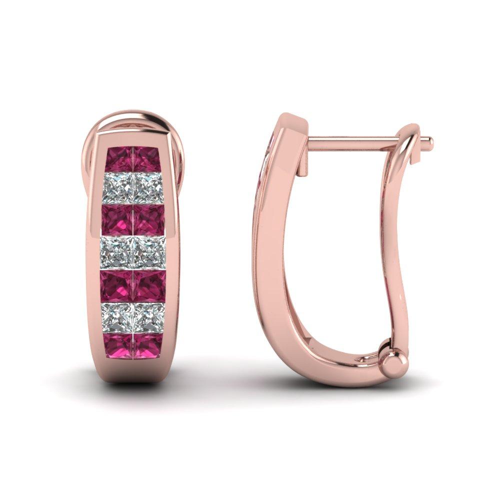 Princess Cut Diamond And Sapphire Hoop Earrings