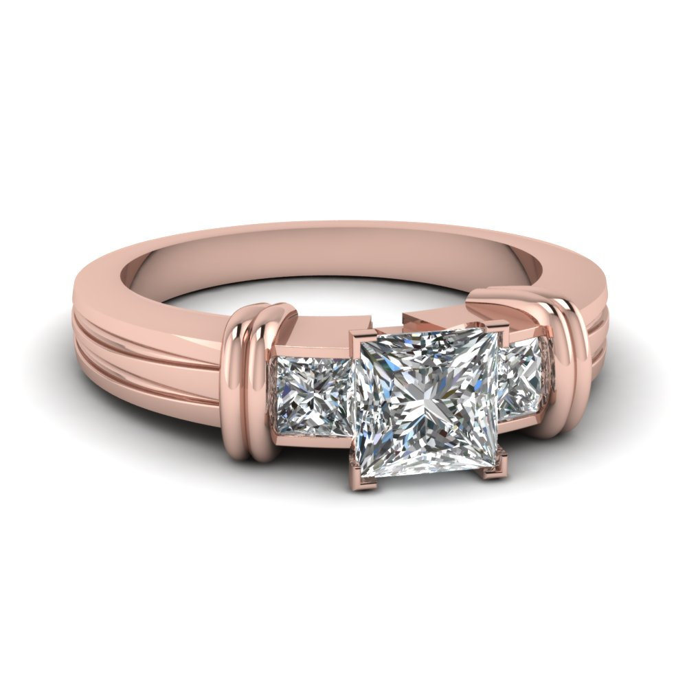 Princess Cut Three Stone Rings