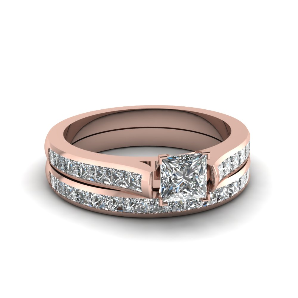Princess Cut diamond Wedding Ring Sets with White Diamond in 14K Rose Gold