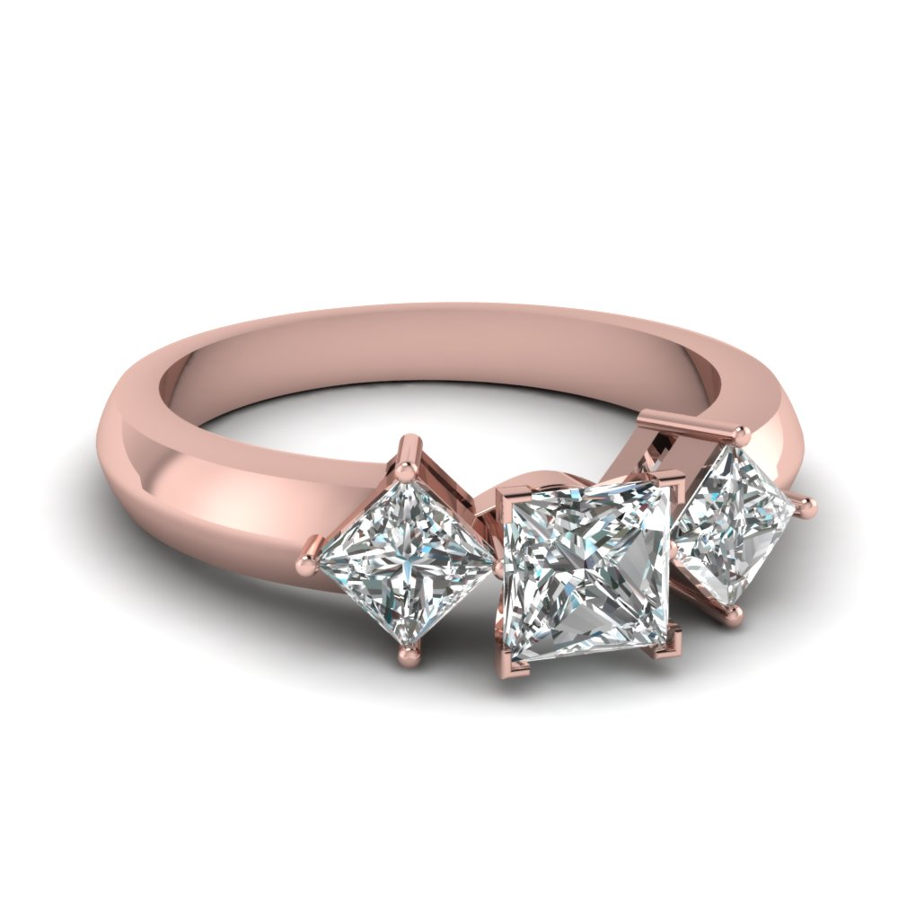 Princess Cut Diamond Engagement Rings With Pink Sapphire In 14k Rose Gold