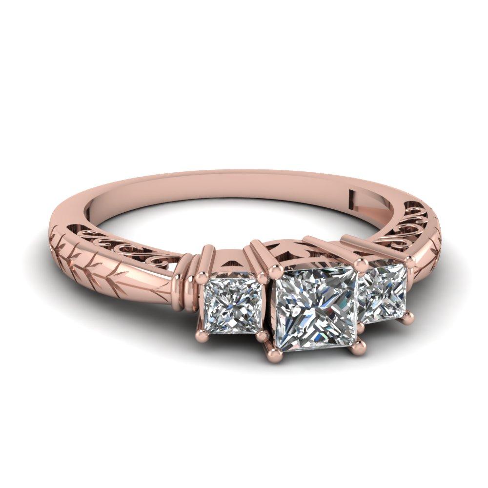 3 Stone Antique Princess Ring