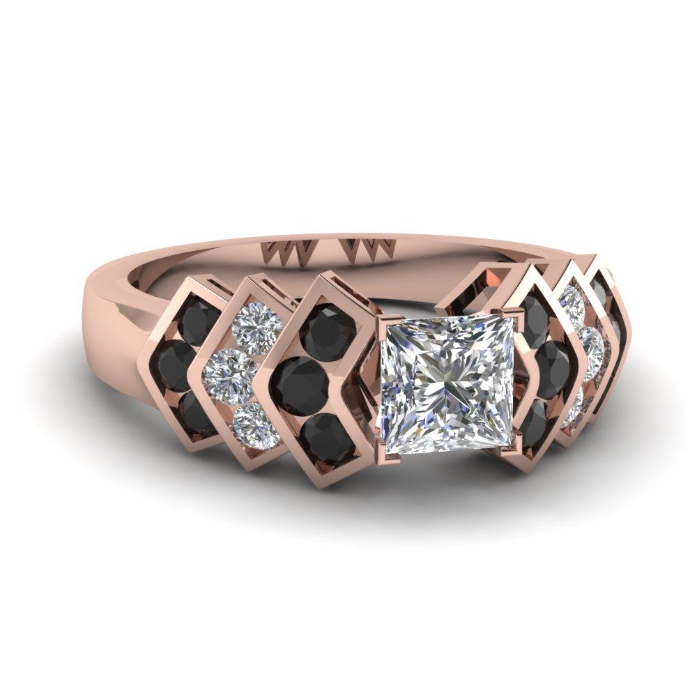 Princess Cut And Black Diamond Side Stone Ring