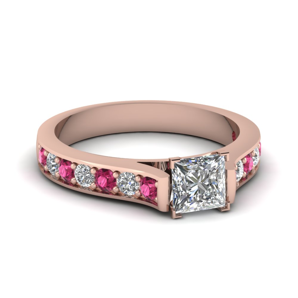 Princess Cut 18k Rose Gold Side Stone Engagement Rings