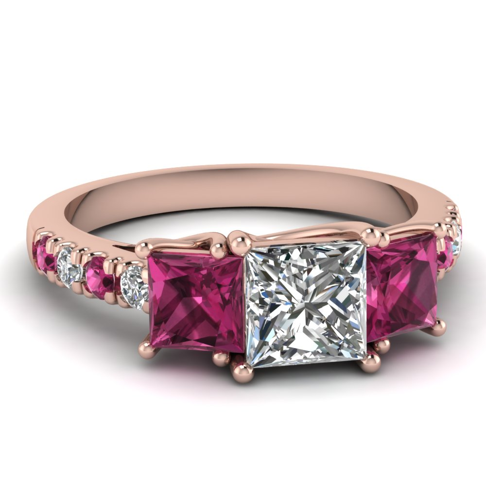 Princess cut Diamond And Pink Accent Gemstone Ring